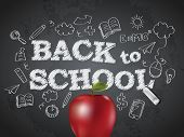 Back to school poster with text on chalkboard and apple