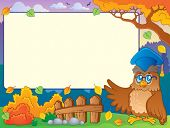 Autumn frame with owl teacher 2 - eps10 vector illustration.