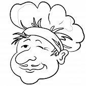 Cooks head in a cap, contour