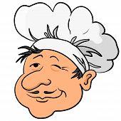Cooks head in a cap