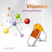 Molecules - medical health care concept - vitamin supplements