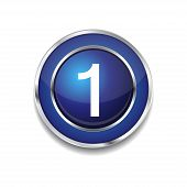1 Number Circular Vector Blue Web Icon Button