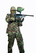 picture of paintball  - Young paintballer with marker in fighting stance - JPG