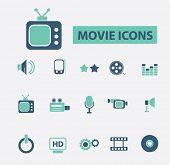movie, cinema icons set, vector