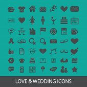love, wedding, romance icons, signs, silhouettes set, vector