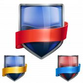 Set of Bright shield in the boxing helmet inside with ribbons. Vector.