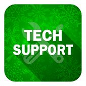 technical support flat icon, christmas button