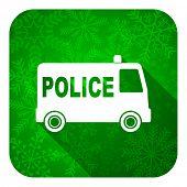police flat icon, christmas button