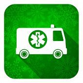 ambulance flat icon, christmas button