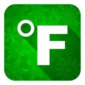 fahrenheit flat icon, christmas button, temperature unit sign