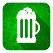 beer flat icon, christmas button, mug sign