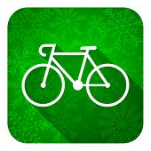 bicycle flat icon, christmas button, bike sign