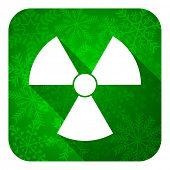 radiation flat icon, christmas button, atom sign
