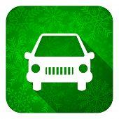 car flat icon, christmas button, auto sign