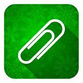 paperclip flat icon, christmas button