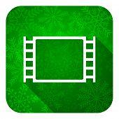movie flat icon, christmas button