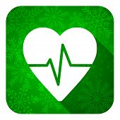 pulse flat icon, christmas button, heart rate sign