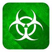 biohazard flat icon, christmas button, virus sign