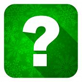 question mark flat icon, christmas button, ask sign