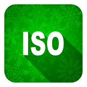 iso flat icon, christmas button