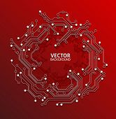 circuit board red background