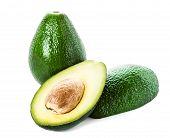 Avocado Isolated On White  Background. Fresh Green Slice  Avocado Fruit