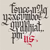 Historical Gothic handwriting alphabet. Lowercase.