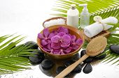 Spa till life with orchid and salt in bowl , white candle, towel, stones, oil, and palm