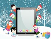 Merry christmas with happy kids and tablet