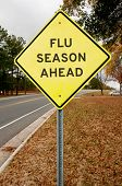 image of flu shot  - Yellow flu season ahead highway road sign - JPG