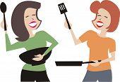Dancing women cooking dinner girl party