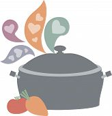stock photo of dutch oven  - Steaming aromas of love from this cooking - JPG