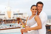 happy caucasian couple having fun on cruise trip