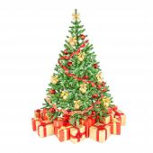 Decorated Christmas Trees Isolated On White Background