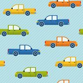 Seamless pattern with pickup cars