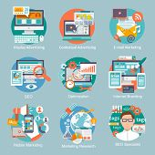 picture of internet icon  - Seo internet marketing flat icon set with display contextual advertising e - JPG