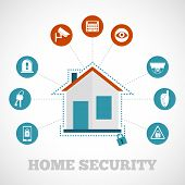 Home Security Icon Flat