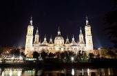 Basilica Del Pilar in Zaragoza in night illumination