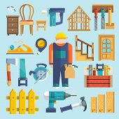 Carpentry icon flat