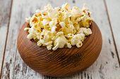 Popcorn In Wooden Bowl