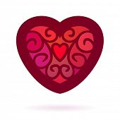 Ornamental double heart, Isolated design element, Vector illustration