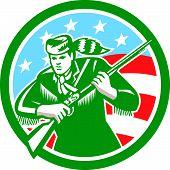 American Frontiersman Daniel Boone Circle Retro