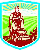 Ride On Lawn Mower Vintage Shield Retro