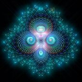 Brilliant fractal pattern resembling icy Mayan bas