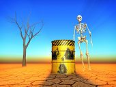stock photo of radioactive  - illustration of radioactive contamination in 3D rendering - JPG