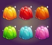 Colorful shiny jelly set