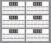 Calendar Grid 2015, 2016, 2017, 2018, 2019, 2020  For Business Card
