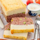 image of meatloaf  - Beef Meatloaf with Green Peas Topped with Cheesy Mashed Potato close up square - JPG