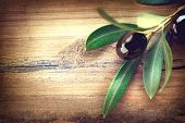 image of olive branch  - Olive over Wood Background - JPG