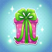 Pink gift box with big green bow